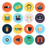 Set of movie design elements. And cinema icons in flat style Royalty Free Stock Image