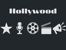 Set of movie design elements and cinema icons. Hollywood icons set. Film reel, movie clapper, microphone Royalty Free Stock Image