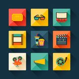 Set of movie design elements in flat style Royalty Free Stock Images