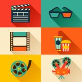 Set of movie design elements in flat style Stock Images