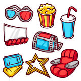 Set of movie elements and cinema objects in cartoon style.  Royalty Free Stock Photos