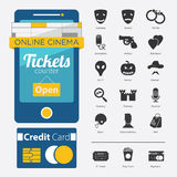 Set of Movie Genre Icon, Movie Online. Set of Movie Online in Flat Icon Design and Film Genre in Minimal Style Royalty Free Stock Image