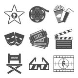 Set of Movie Icons Flat design Vector. Illustration Royalty Free Stock Images