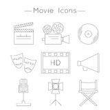 Set of Movie Icons. Thin line style vector. Cinema symbols Stock Images