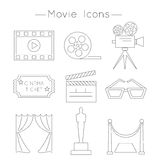 Set of Movie Icons. Thin line style vector. Cinema symbols Stock Image