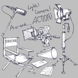 Set of movie make objects Royalty Free Stock Images