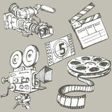 Set of movie make objects Royalty Free Stock Image