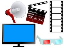 Set of movie objects Royalty Free Stock Photo