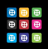 Set movie player colorful icons Stock Photos