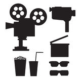 Set of  movie silhouettes. Including old video camera, old projector, clapper, 3d glasses; popcorn and drink Royalty Free Stock Image