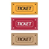 Set of movie ticket icons with shadow on a white background Stock Image