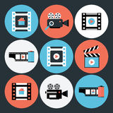 Set of Movie and Video Flat Circle Icons Royalty Free Stock Photo
