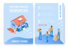 Set Moving House Services Sweet Home Flat Cartoon. Beside Beautiful House are Unloaded Boxes and Furniture. Uniformed Transportation Staff Carry Cardboard stock illustration