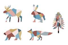 Set mozaika lis, mozaika niedźwiedź, mozaika królik, mozaika łoś amerykański, mozaiki jodły sylwetka koloryt ilustracji
