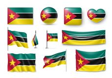 Set Mozambique flags, banners, banners, symbols, realistic icon. Vector illustration of collection of national symbols on various objects and state signs Royalty Free Stock Photo
