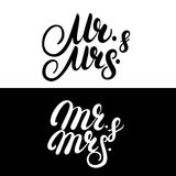 Set of Mr and Mrs hand written lettering. Royalty Free Stock Photos