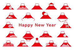 Set of Mt. Fuji icons. New Year's card. Stock Photos