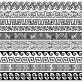 Set muśnięcia tworzyć Greckich meanderów wzory ilustracja wektor