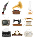 Set of much objects retro old vintage icons stock  illustr Stock Photography
