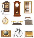 Set of much objects retro old vintage icons stock vector illustr Stock Image