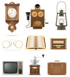 Set of much objects retro old vintage icons stock vector illustr Stock Photography