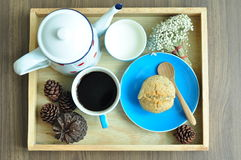 A set of muffin with black coffee and milk Royalty Free Stock Photo