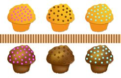 Set Muffin colored, vector Royalty Free Stock Photography