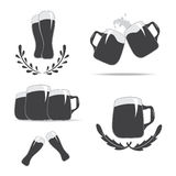 Set of mug icons for beer. Stock Photography