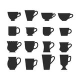 Set of mugs, black silhouettes of dishes, symbols and signs for design logos, emblems, labels, badges Royalty Free Stock Image