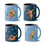 set of mugs with deers vector illustration