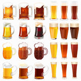 Set of mugs with a light and dark beer Stock Photo