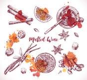 Set of mulled wine, hand drawn ingredients. Cooking aroma ingredient. Royalty Free Stock Images