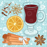 Set of mulled wine, orange and spices. Hand drawn  illustr Stock Photography