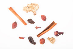 Set for mulled wine on a white background Stock Photos