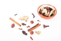Set for mulled wine on a white background Royalty Free Stock Photography