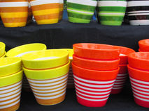 Set of multi-color pots Royalty Free Stock Photography