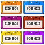 Set of multi-colored audio cassette icons. Isolated vector illustration on white background. Set of multi-colored audio cassette icons. Isolated vector stock illustration