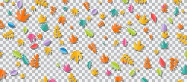 Set of multi-colored autumn leaves on transparent background. Vector Illustration. EPS10 Royalty Free Illustration