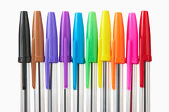 Set of multi-colored ball pens Stock Images