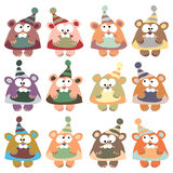 A set of multi-colored bears in retro style. Royalty Free Stock Images
