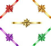 Set of multi-colored bows with ribbons on  white background. Stock Photography