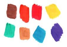 Set of multi-colored brush strokes, imitation gouache paint. Set of multi-colored brush strokes for design and decoration, imitation of gouache paint stock illustration