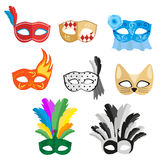 Set of multi-colored carnival masks for a festive evening or going to a party. Vector, illustration in flat style. Isolated on white background EPS10 Stock Photography