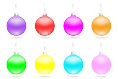 Set of multi-colored Christmas balls. Stock Photo