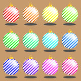 Set of multi-colored Christmas toys vector. Set of multi-colored Christmas toys on background vector royalty free illustration