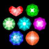 Set of multi-colored classic round brilliant cut gems. Gems isolated on white background. Vector jewels or precious diamonds gem set stock illustration