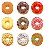 Set. Multi-colored donuts. Royalty Free Stock Photo