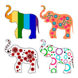 Set of 4 multi-colored elephants Stock Images