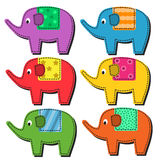 Set of multi-colored elephants Royalty Free Stock Photo
