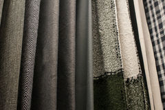 Set of multi-colored fabrics background texture for decor.  Royalty Free Stock Image